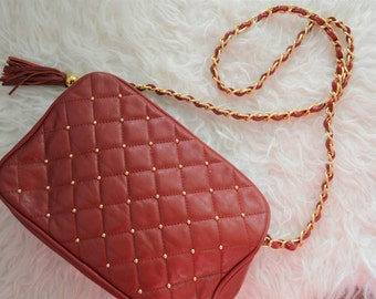 Vintage red leather quilted cross body with gold hardware
