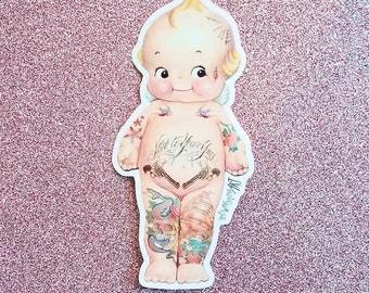 Tattooed Kewpie 2X4 Sticker