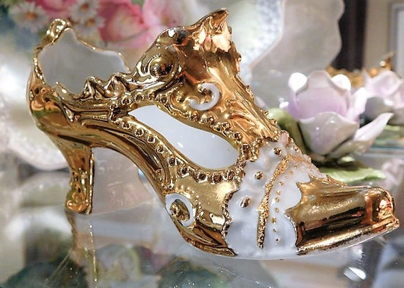 Antique Victorian Gold German Porcelain Shoe Slipper Ornate Galluba & Hofmann Shoe Boot Planter Figurine Vanity Vase Home Decor Cottage
