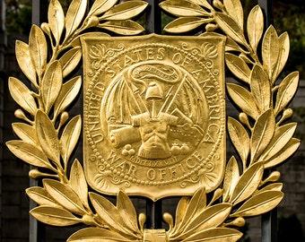 United States War Office Emblem, Arlington National Cemetery, Washington DC, Army, Air Force, Navy, Military, Home Decor, Wall Art Print