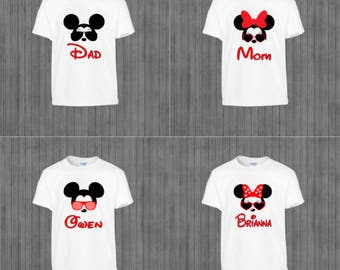 Family Disney Shirts, Printable Iron on Transfer, Print at Home,  Mickey and Minnie Glasses