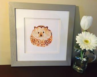 Hedgehog watercolor print