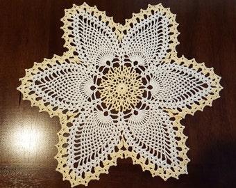 Yellow/Cream Star Pineapple Hand Crocheted Doily