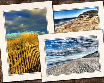 3 Beach Photo Note Cards - 5x7 Beach Note Card Set - Blank Beach Greeting Cards With Envelopes - Nature Greeting Cards Handmade (BE7)