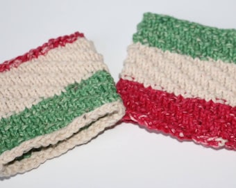 Striped coffee sleeves (set of 2)