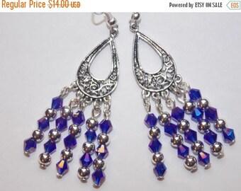 15%OFF Blue Crystal and Silver Decorative Open Teardrop Chandelier Earrings