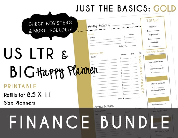 usltr  big happy planner finance bundle check register monthly