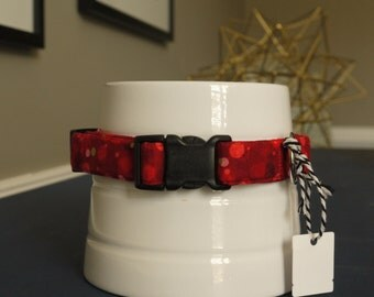 red and gold dot holiday collar