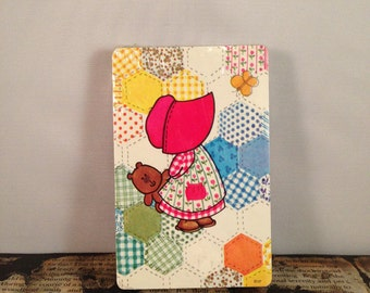 Praire Girl Pink Bonnet Calico Patch VINTAGE Playing Cards Single Deck