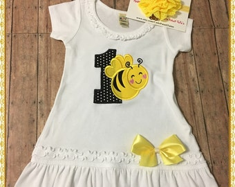 Birthday Bumble Bee Dress Available For 1/2, 1st, 2nd, 3rd, 4th Birthdays: PERSONALIZED FOR FREE; Dress And Flower Stretch Headband Included
