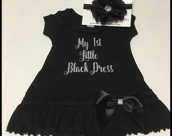 My First Little Black Dress With Flower Headband; Sizes Available 6 Months, 12 Months, 18 Months, 24 Months