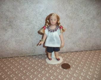 1:12 scale Dollhouse Miniature Pocelain Little Modern Girl Doll
