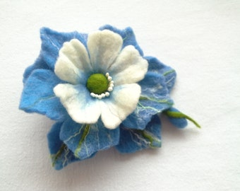 Wool felt jewelry, Blue White Felt Flower Brooch, Hair clip Flower, Pin Flower, Unique,Gift for Her, Felt Pins,Art Jewelry,statement brooch
