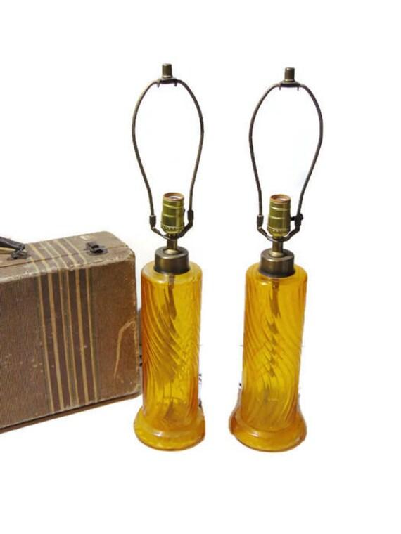 Hollywood Regency Lamps, Pair Of Lamps, Amber Lamp, Glass Lamp, Table Lamp Pair, Mid Century Lamp Pair,Yellow Glass, Mood Lighting