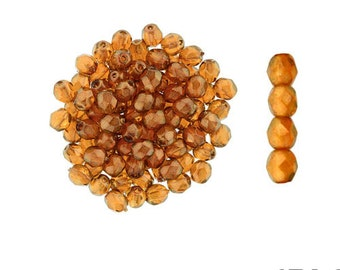HALO SANDALWOOD: 4mm Faceted Round Firepolish Czech Glass Beads (50 beads per strand)