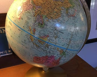 "Vintage 12"" Replogle World Nation Series Globe from 1960s"