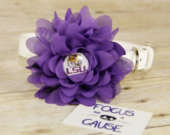 LSU Tigers Dog Collar Flower, Attachment, (Collar not included), Collar Flower, Dog Accessory, Photograpy Prop