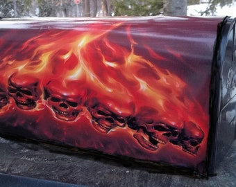Painted and or other mixed media Mailbox-6 Skulls and Flames