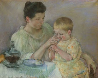 """Mary Cassatt : """"Mother Feeding Child"""" (1898) - Giclee Fine Art Print"""