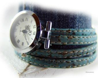 Damen Armbanduhr Kork Leder Wickeluhr vegan blau hell petrol silber - Armband Uhr - Geschenk für sie beste Freundin Ehefrau Schwester Ostern