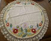 """Embroidered tea-stained style linen tablecloth - round 36""""  [RS]"""