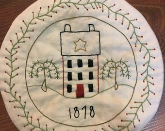 Primitive Saltbox Hand Embroidered candle mat
