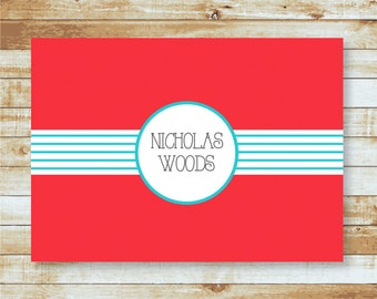 Personalized Folded Note cards / Stationery / Red & Aqua / Nicholas