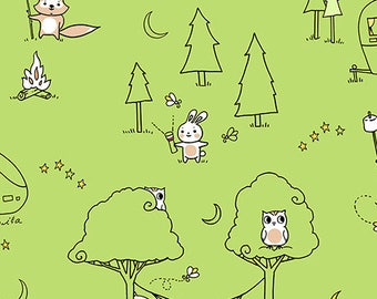 Ink and Arrow Fabrics Camp S'mores Smores Green Scenic Camping Trailer Fabric BTY 1 Yd