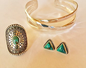 Boho Chic Turquoise and Sterling Silver Statement Ring