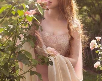 Sale! Aphrodite Wedding Dress Romantic Bridal Dress Boho Chic Vintage Pink Silk Ivory Ombre Silk