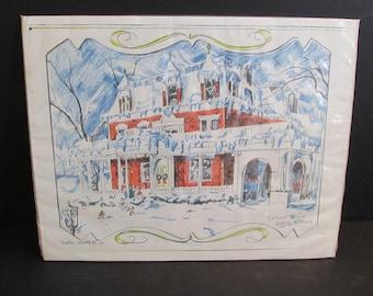 Ellwood House, DeKalb Illinois Drawing, Drawings, Victorian Houses, Victorian House Drawings, Sketches, Art, Original Art, Signed Art, 1971