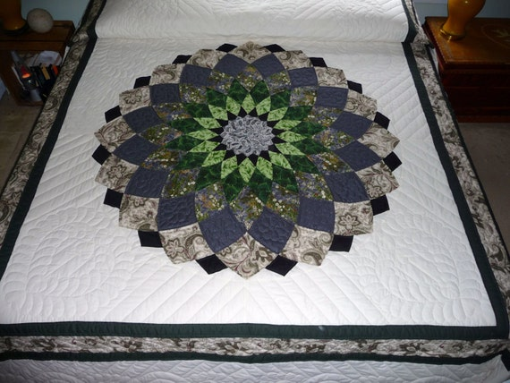 Giant Dahlia Quilt Images : Giant Dahlia Amish Handmade Quilt in Greens and Gray