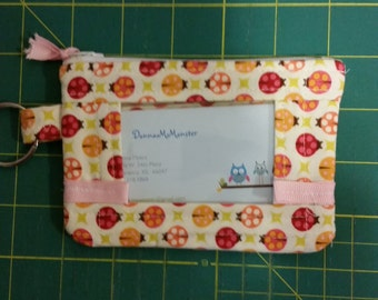 ID Wallet, Coin Purse, Zipper Closure, Made With lady bug Fabric