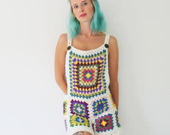 Crochet Dungarees - Overalls- Handmade - Vintage Style - Small