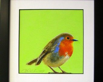 Robin print with lime green background matted and framed