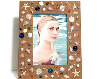Beach Photo Frame, Coastal Décor, Seashells, Polymer Clay, Starfish, Swarovski Rhinestones, Freshwater Pearls, Sand, 4x6 picture frame