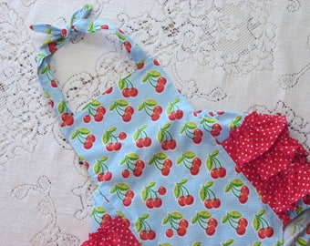 Blue Cherry Polka-Dot Ruffled Bubble Romper - Cherries - Infant Toddler Child Sizes - Vintage-Style Ruffled Sunsuit - Photo Prop - Baby Gift
