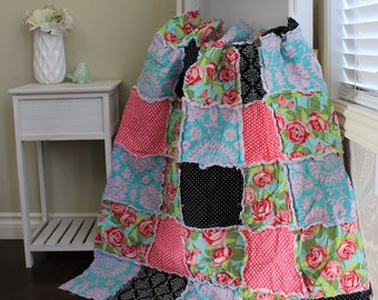 Rag Quilt, Baby Rag Quilt, Baby Girl Quilt, Amy Butler Love, Rose Baby Quilt, Ready To Ship