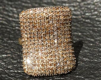Champagne Diamond Ring, 14K Gold Pave Setting, Argyle Mine