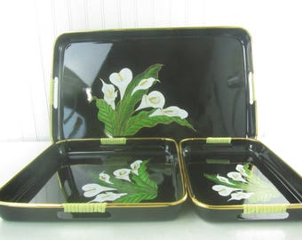 Serving tray, vintage tray set, black lacquer, mid century tray, bar ware, calla lilies