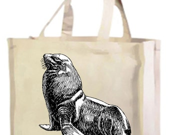 Seal Cotton Shopping Bag with gusset and long handles, 3 colour options