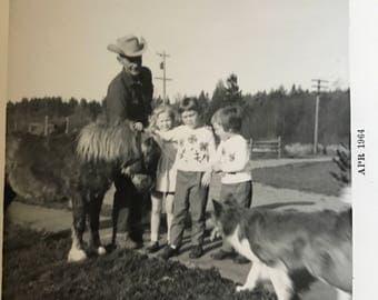Vintage photo Pony Dog children and a man