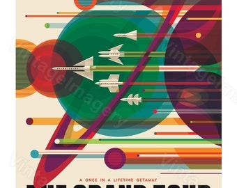The Grand Tour ExoPlanet 2016 NASA/JPL Space Travel Poster Space Art Great Gift idea for Kids Room, Office, man cave, Wall Art Home Decor