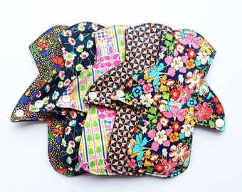"""Made to Order/ Lucy and Mabs 8"""" MODERATE Reusable Mama Cloth/Set of 5/ Bamboo Core/ Liberty of London"""