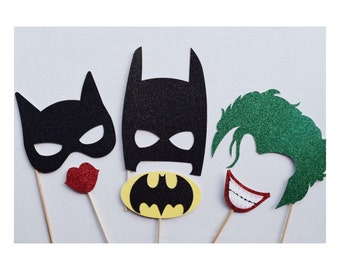 Super Hero Birthday Party Photo Booth Props ; Batman, Cat Woman, The Joker Marvel Photo Prop ; Super Hero Party Decor
