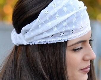 Cotton Headbands, White Headband, Bohemian Headband, Hair Accessories, Womens Accessories, Womens Turbans, Knited Headband, Vintage Hair 50s
