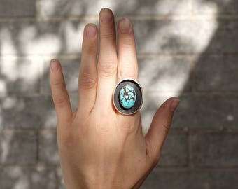 Large Turquoise Shadow Box Ring - Sterling Silver - Size 6.75
