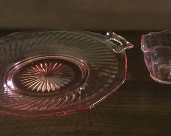 Pink Depression Glass Handled Plate and Cream Pitcher