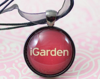 igarden Gardener gift red Necklace Glass Pendant Silver Jewelry or Keychain