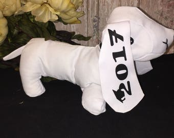 SALE! Party Autograph Dog-birthday-gift-keepsake-plush-custom-monogram-school-children's-birthday-2017